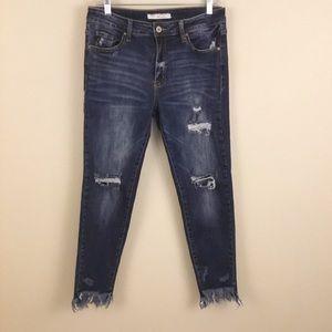Kancan Distressed Fringe Hem High Waisted Jean 29